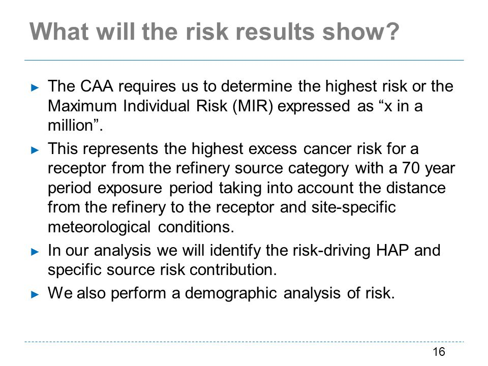 What will the risk results show