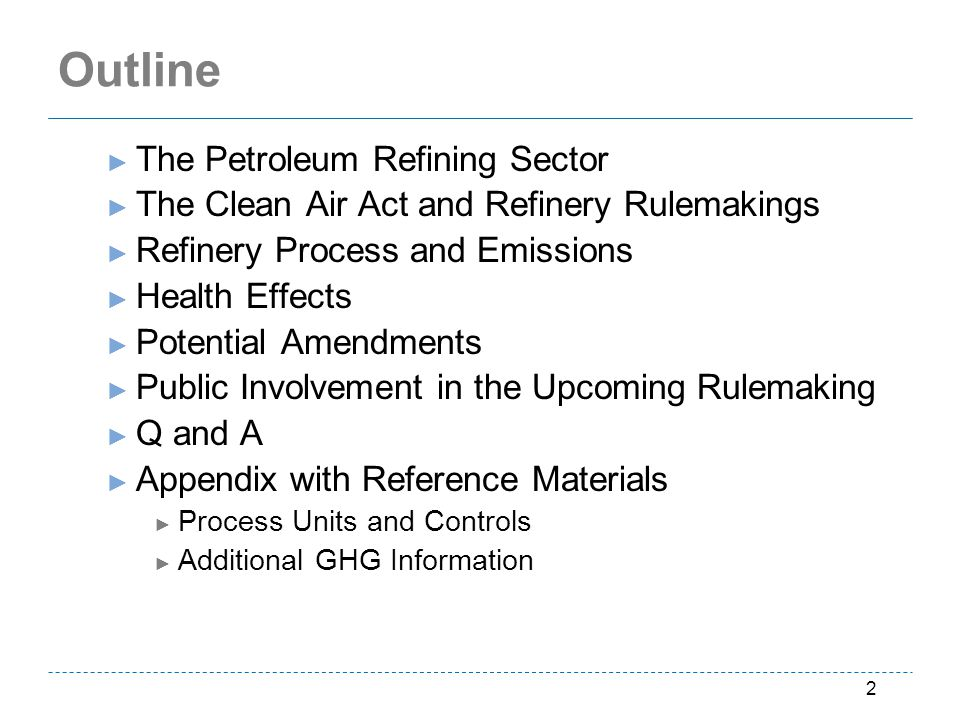 Outline The Petroleum Refining Sector