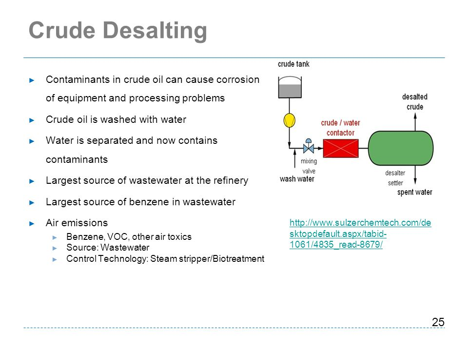Crude Desalting Contaminants in crude oil can cause corrosion of equipment and processing problems.