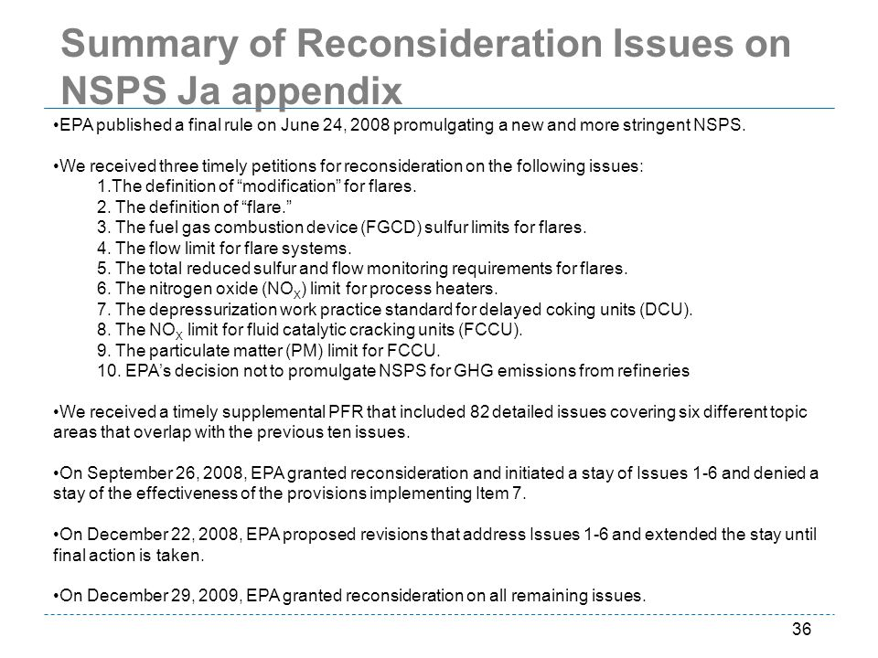 Summary of Reconsideration Issues on NSPS Ja appendix