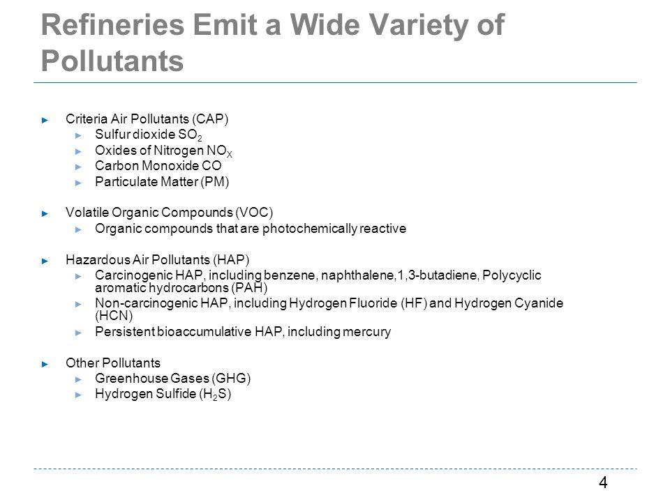 Refineries Emit a Wide Variety of Pollutants