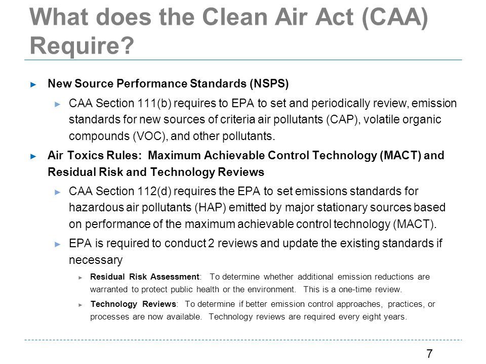 What does the Clean Air Act (CAA) Require