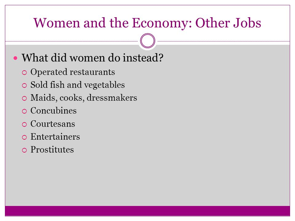 Women and the Economy: Other Jobs