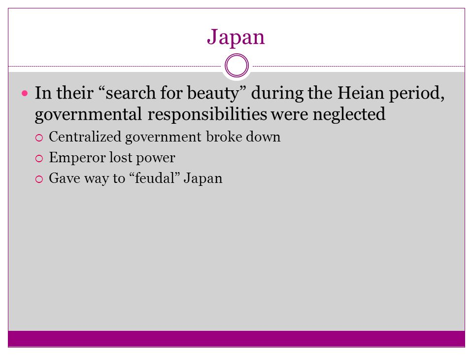 Japan In their search for beauty during the Heian period, governmental responsibilities were neglected.