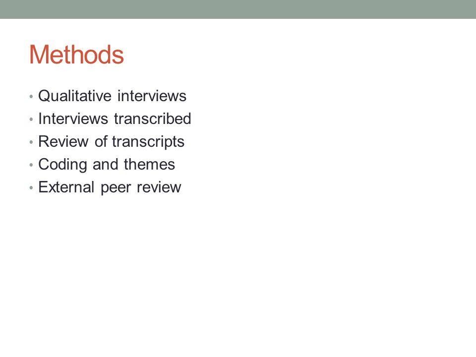 Methods Qualitative interviews Interviews transcribed