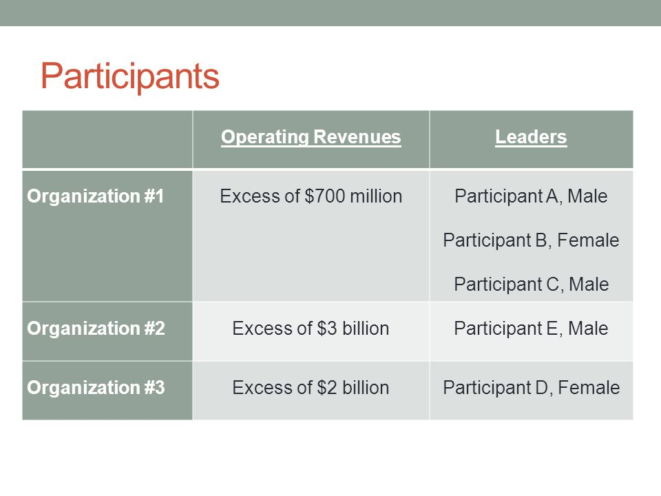 Participants Operating Revenues Leaders Organization #1