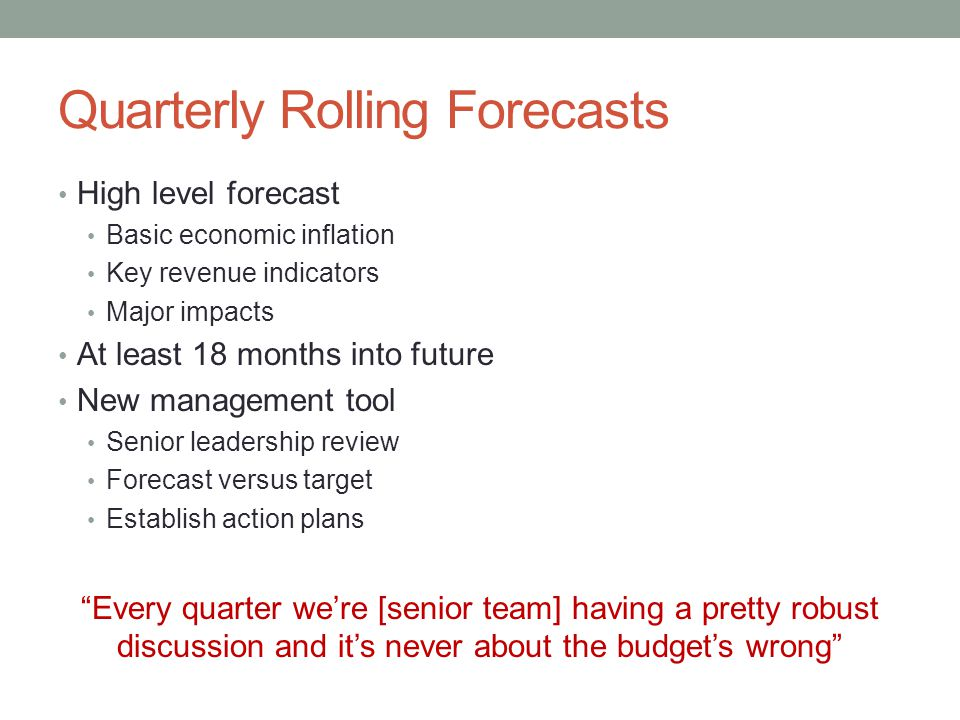 Quarterly Rolling Forecasts