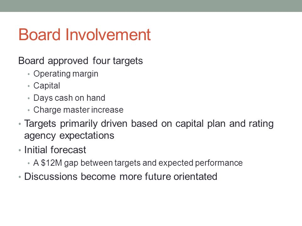 Board Involvement Board approved four targets