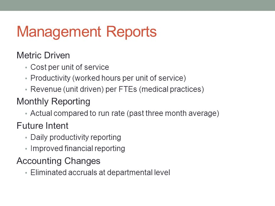 Management Reports Metric Driven Monthly Reporting Future Intent