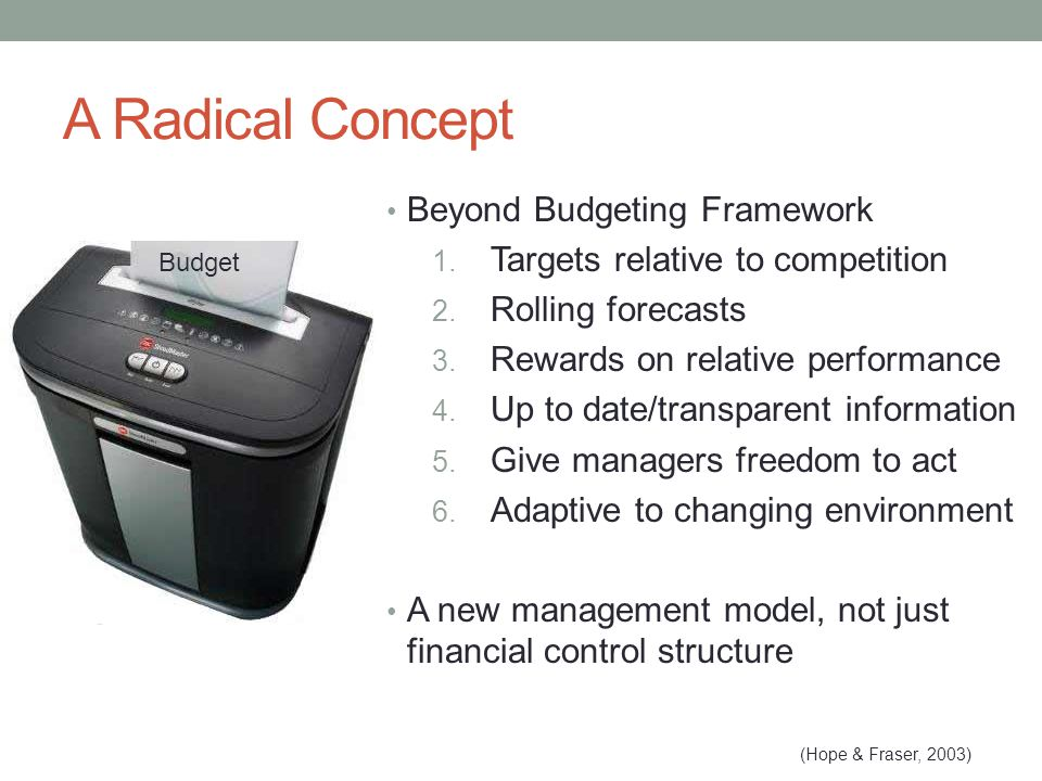 A Radical Concept Beyond Budgeting Framework