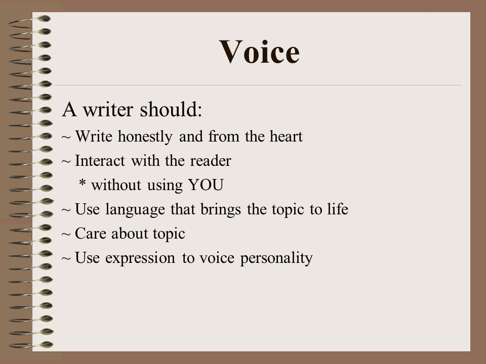 Voice A writer should: ~ Write honestly and from the heart