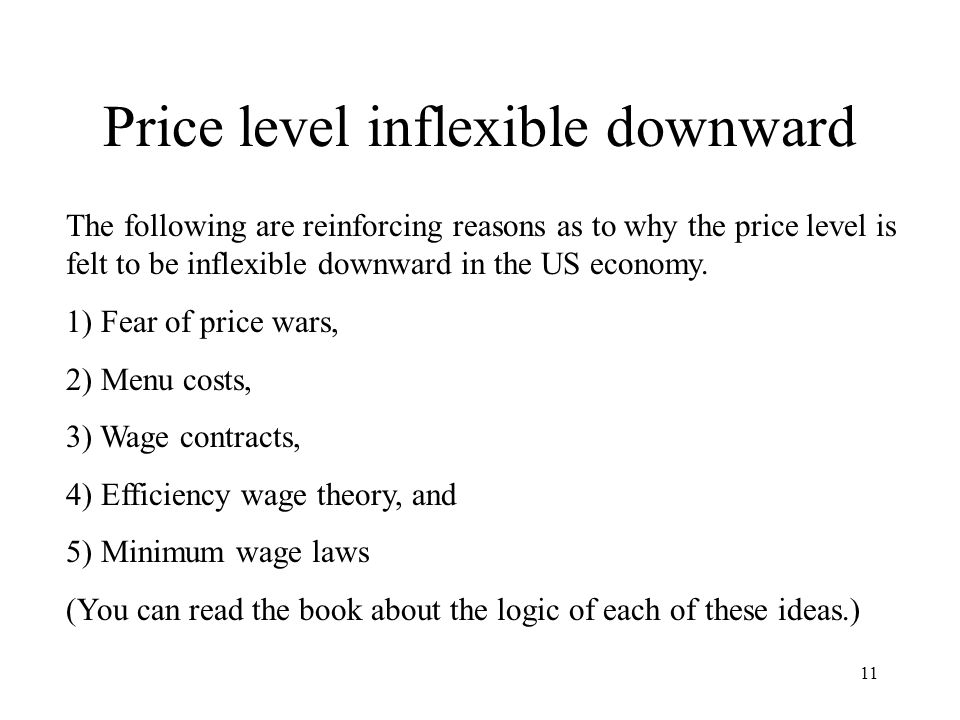 Price level inflexible downward