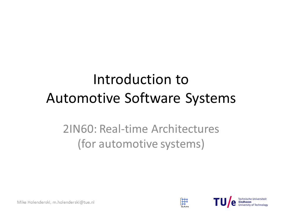 Introduction to Automotive Software Systems