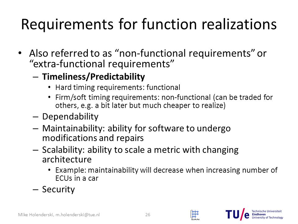 Requirements for function realizations
