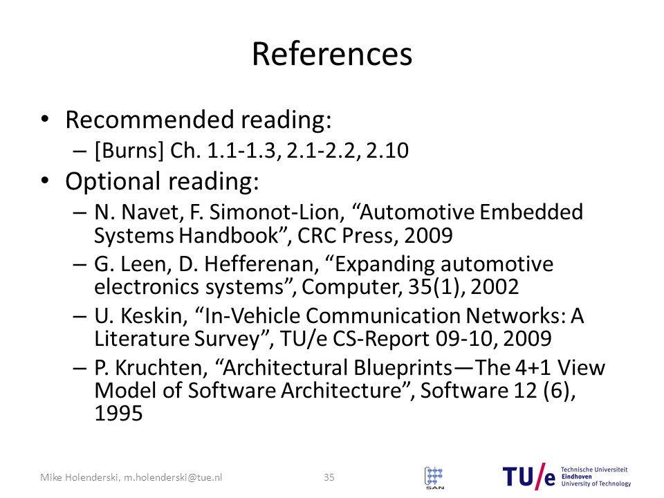 References Recommended reading: Optional reading: