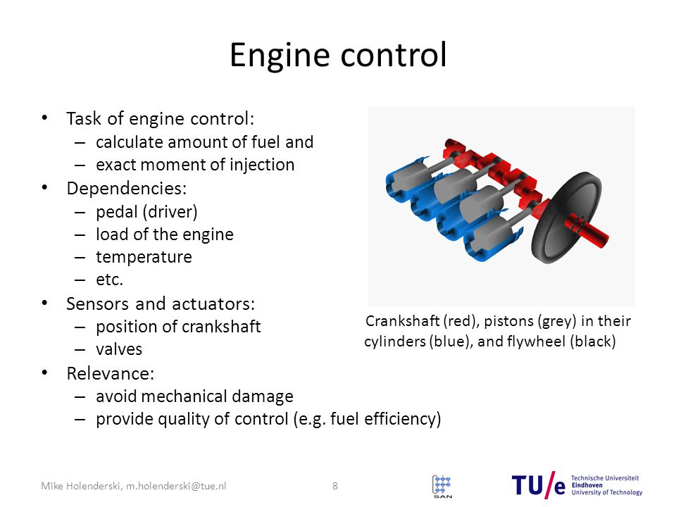 Crankshaft (red), pistons (grey) in their