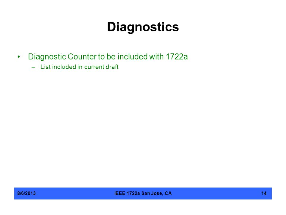 Diagnostics Diagnostic Counter to be included with 1722a