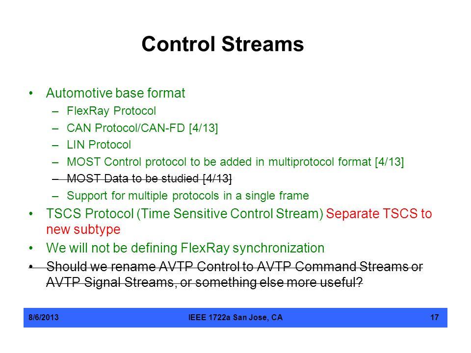 Control Streams Automotive base format