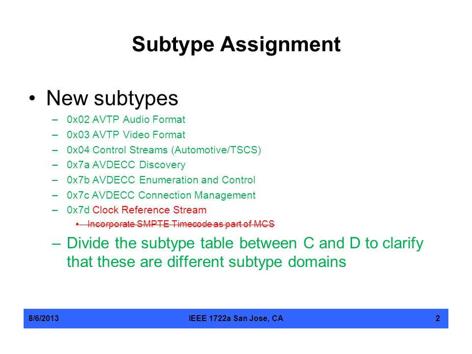 Subtype Assignment New subtypes