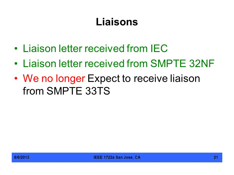 Liaison letter received from IEC