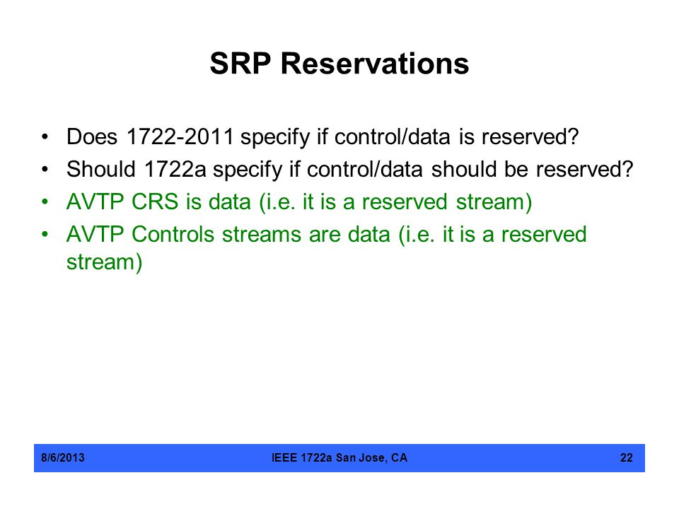 SRP Reservations Does 1722-2011 specify if control/data is reserved