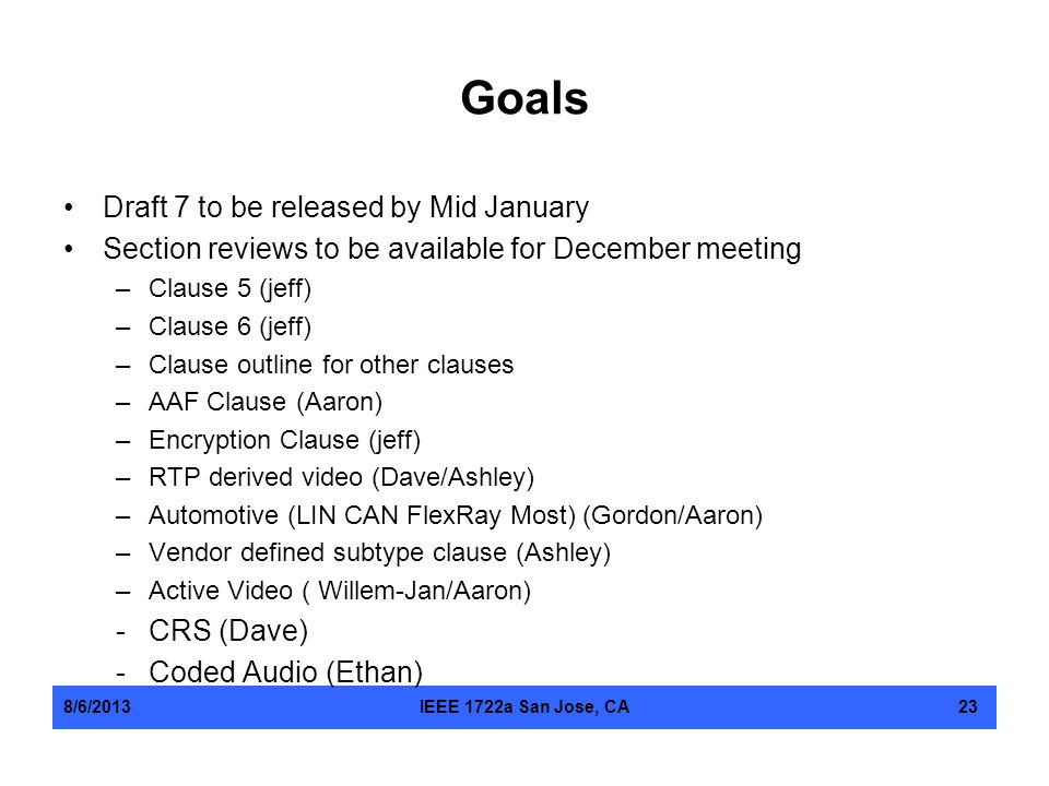 Goals Draft 7 to be released by Mid January