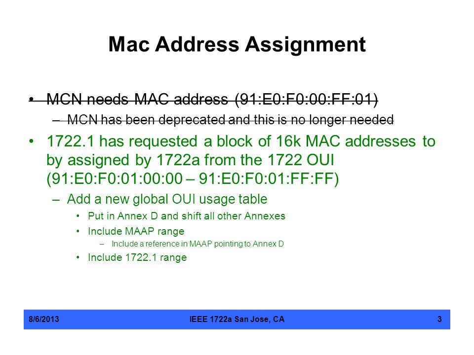 Mac Address Assignment
