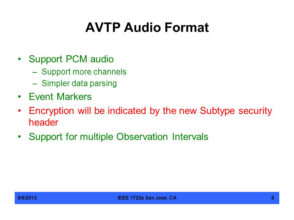 AVTP Audio Format Support PCM audio Event Markers