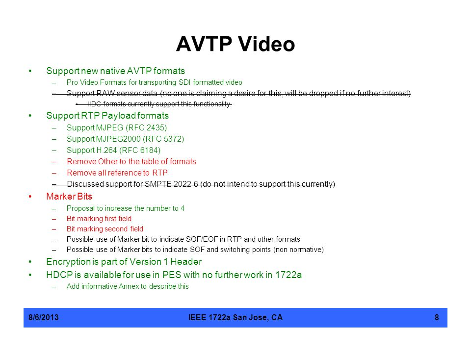 AVTP Video Support new native AVTP formats Support RTP Payload formats
