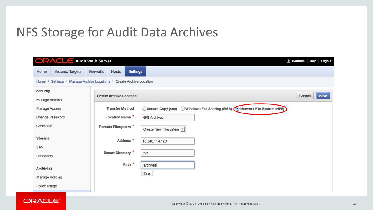 NFS Storage for Audit Data Archives