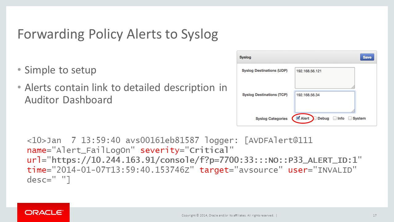 Forwarding Policy Alerts to Syslog