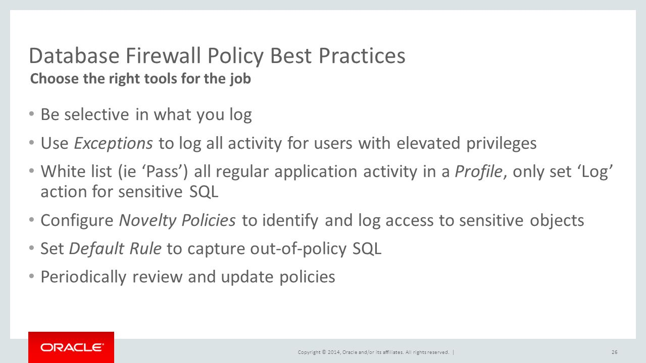 Database Firewall Policy Best Practices