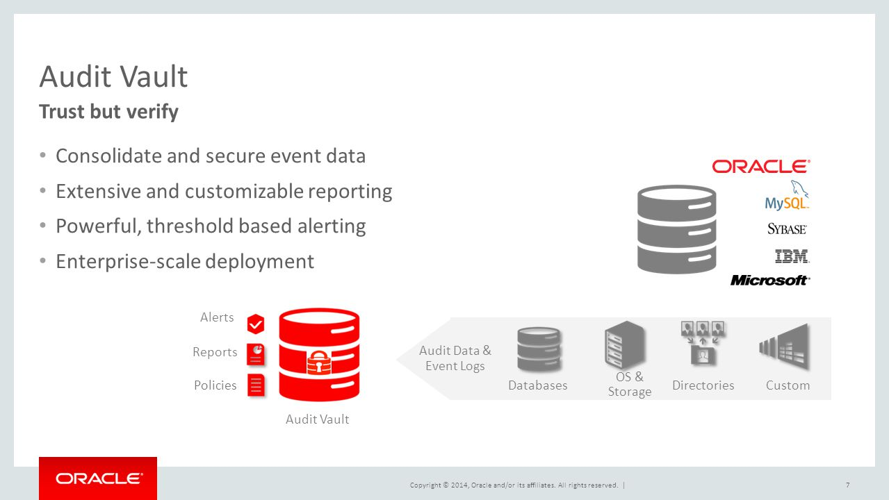 Audit Vault Trust but verify Consolidate and secure event data