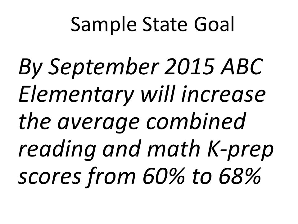 Sample State Goal By September 2015 ABC Elementary will increase the average combined reading and math K-prep scores from 60% to 68%