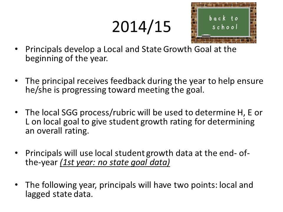 2014/15 Principals develop a Local and State Growth Goal at the beginning of the year.