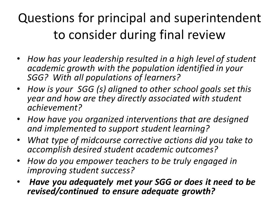 Questions for principal and superintendent to consider during final review