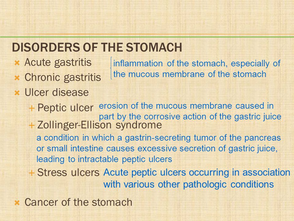Disorders of the Stomach