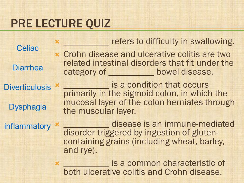 Pre lecture Quiz __________ refers to difficulty in swallowing.