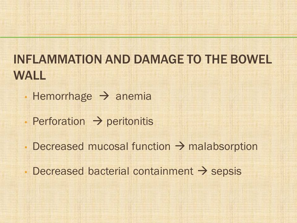 Inflammation and Damage to the Bowel Wall