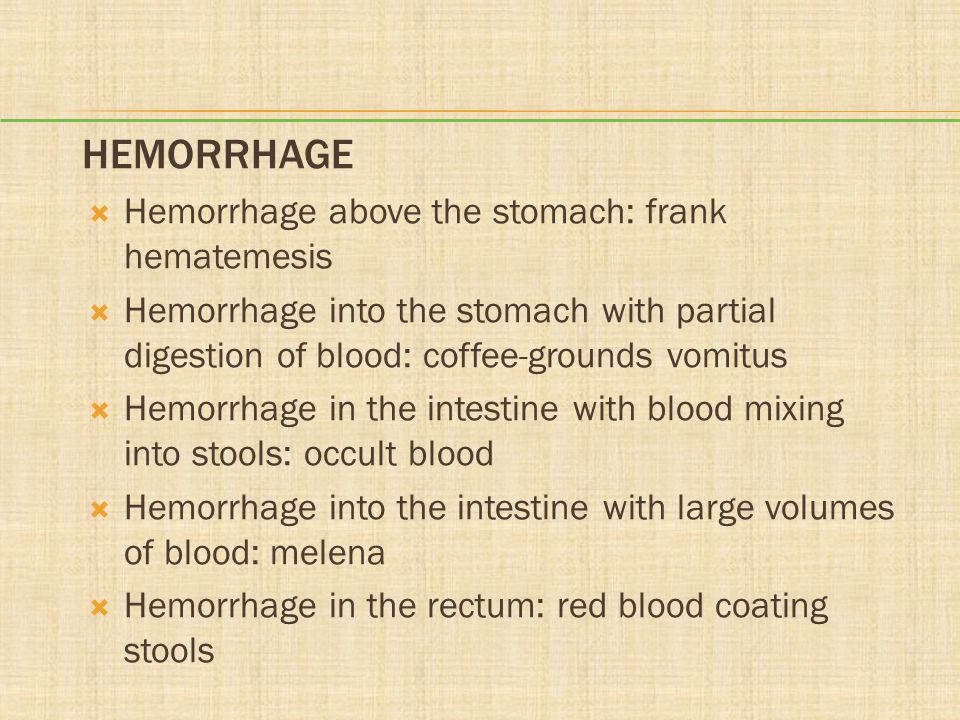 Hemorrhage Hemorrhage above the stomach: frank hematemesis
