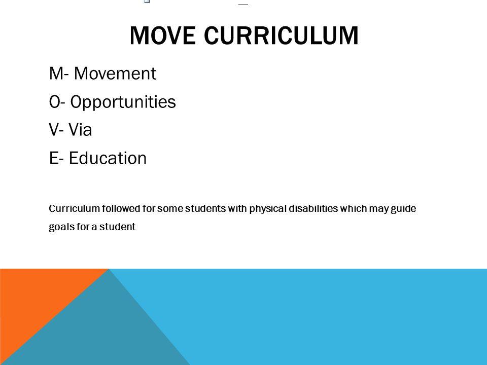 MOVE curriculum M- Movement O- Opportunities V- Via E- Education