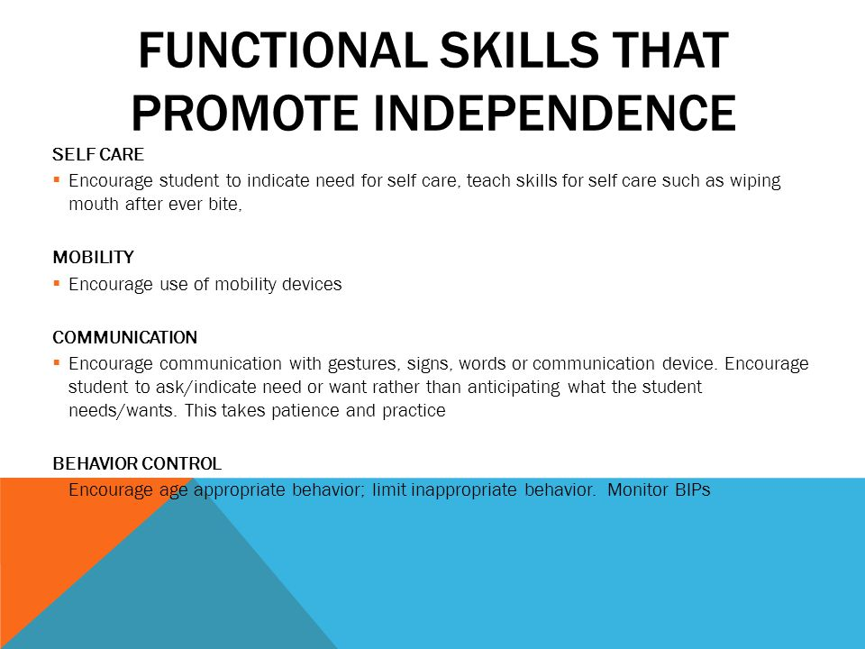 Functional Skills that Promote Independence