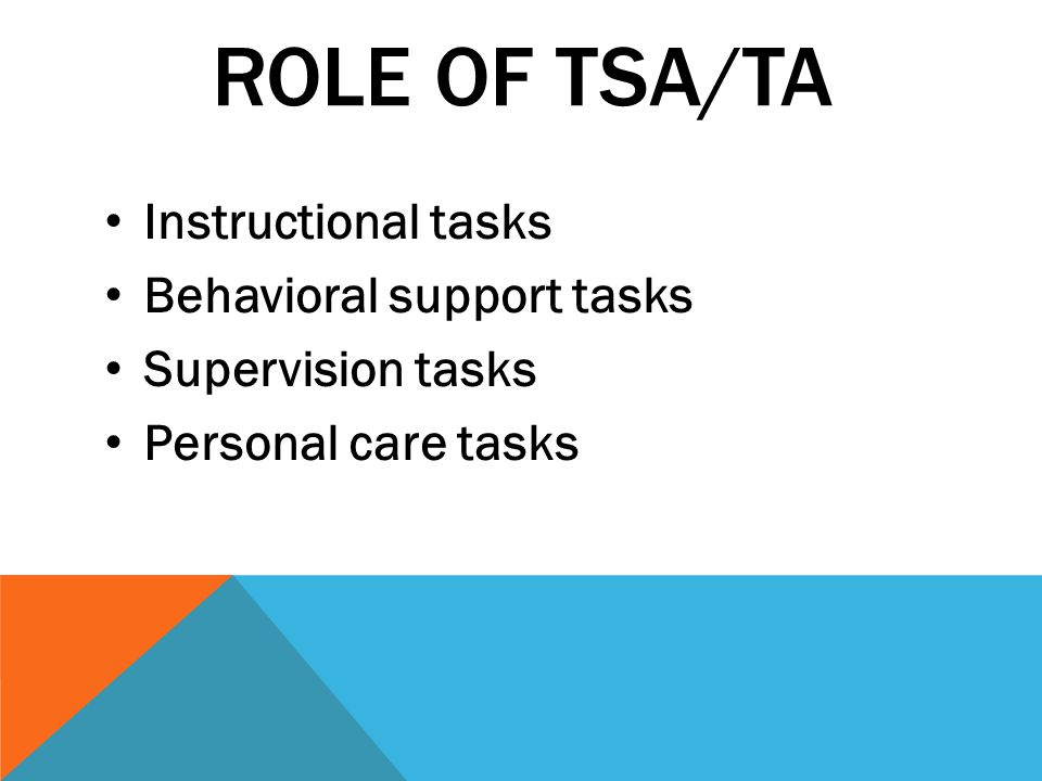 Role of TSA/TA Instructional tasks Behavioral support tasks