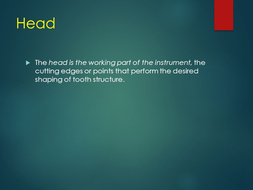 Head The head is the working part of the instrument, the cutting edges or points that perform the desired shaping of tooth structure.