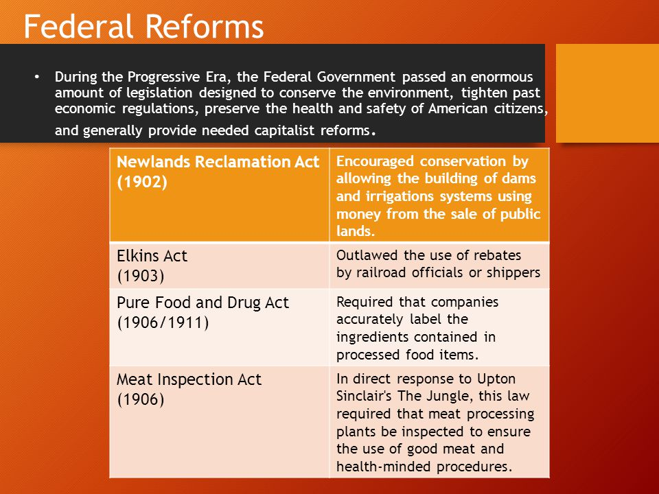 Federal Reforms Newlands Reclamation Act (1902) Elkins Act (1903)