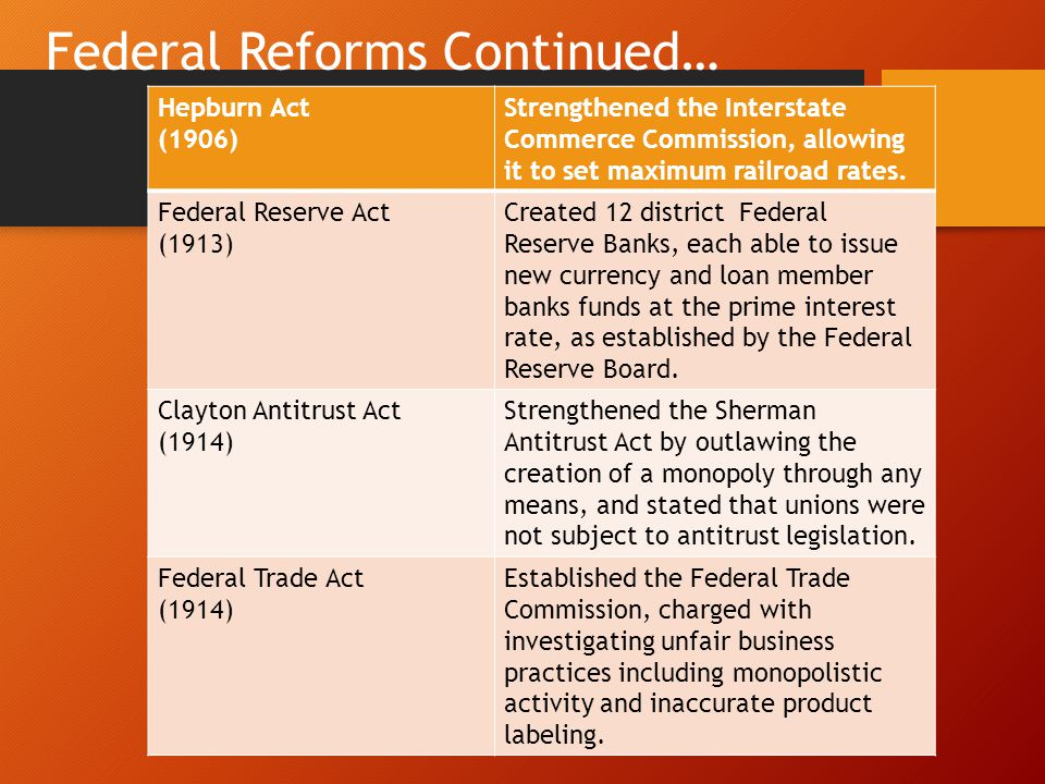 Federal Reforms Continued…