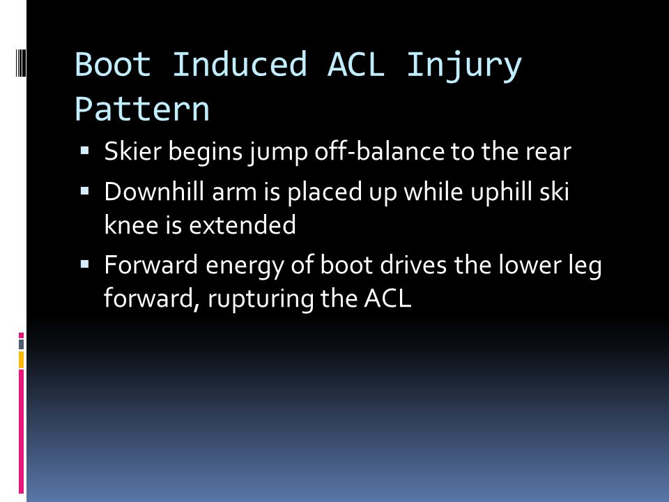Boot Induced ACL Injury Pattern