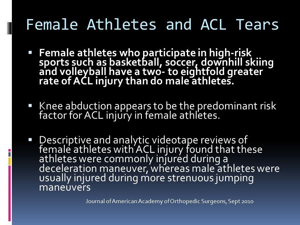 Female Athletes and ACL Tears