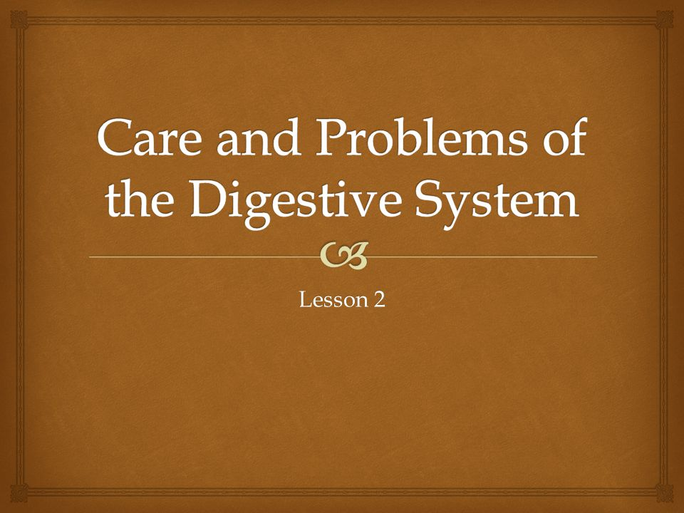 Care and Problems of the Digestive System