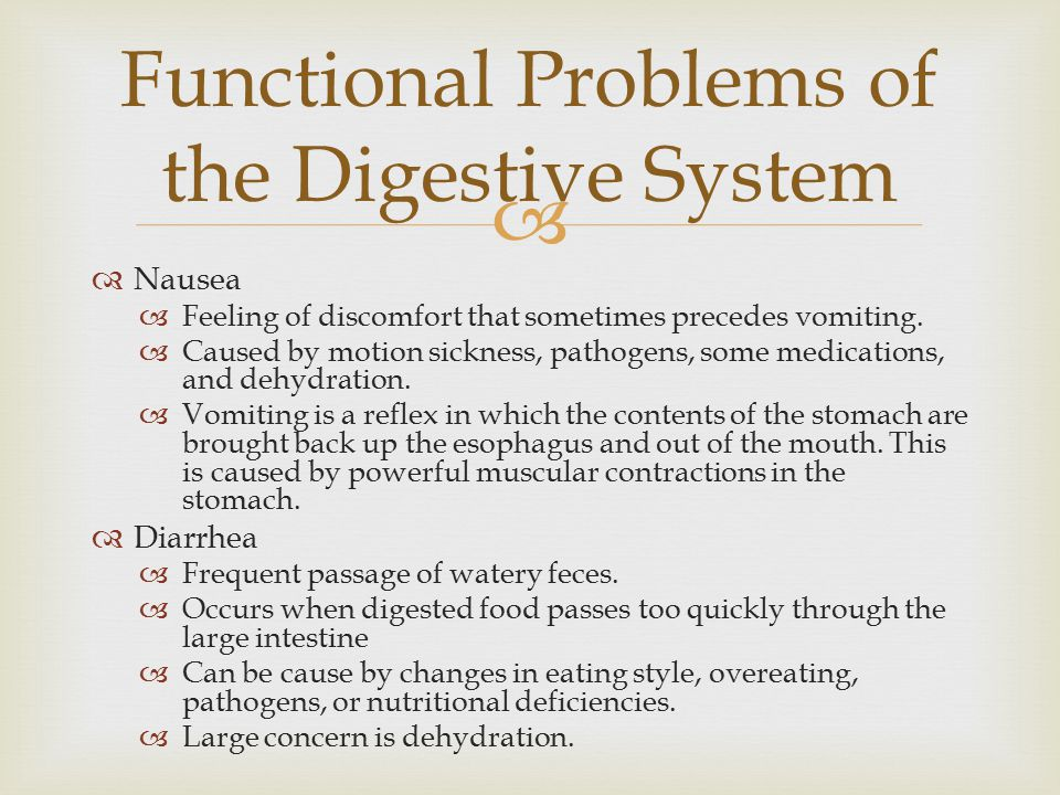 Functional Problems of the Digestive System